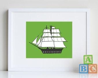 Pirate ship ART, Transportation wall art, pirate decor, Nautical wall decor, cool nursery art