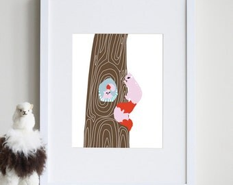 Squirrel Nursery, woodland creature art 8 x 10 print - different colors and sizes available