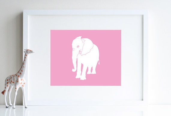 Elephant Nursery Pink Elephant Animal Nursery Decor 8 X 10