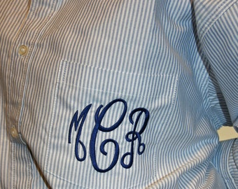 Monogrammed Blue Stripe Oversized Oxford Shirt Bridesmaids Monogrammed Button Down Mens Shirt