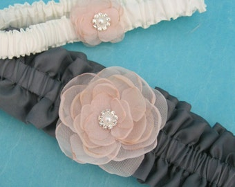 Blush Pink and Gray Bridal Garter Set G014 - bridal garter accessory
