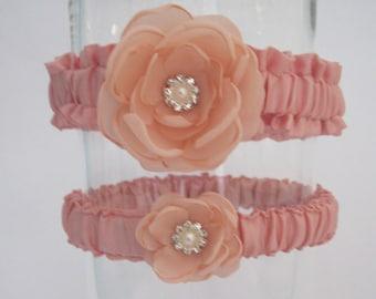 Blush Pink Wedding Garter Set F294 - flower bridal garter accessory