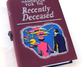 Hollow book, secret drawer.  Handbook for the Recently Deceased wooden hideaway book box. Hidden compartment.