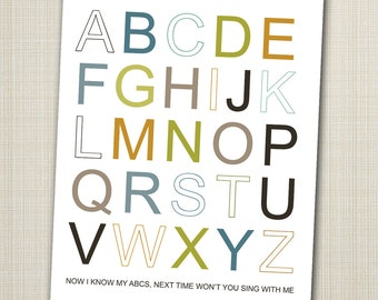 alphabet poster printable 11x14  abc art print