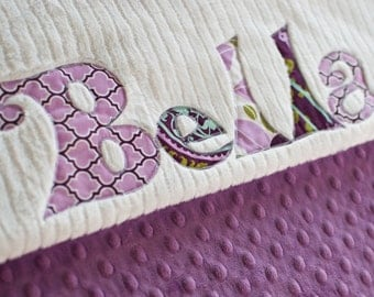 Monogrammed Baby Blanket in TWILIGHT, Lavender or Plum Purple Dot Minky and White Chenille, Personalized with Your Baby Girl's First Name
