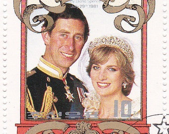 SALE 1981 Royal Wedding commemorative stamps, Charles & Diana, Great for jewelry, altered art,  mixed media.