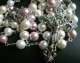 catholic  Rosary necklace Beautiful Mother of Pearl Bead Rosary beads Cross necklace