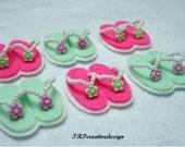 DOUBEL  LAYERS Flip Flop Felt Applique (Mint Green and Hot Pink) - Set of 4 pcs