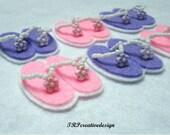 DOUBLE LAYERS Flip Flop Felt Applique (Purple and Light Pink) - Set of 4 pcs