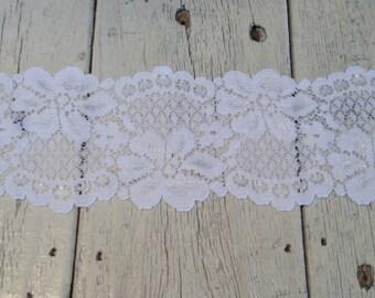 Wide Stretch Lace WHITE-2 1/2 inch-2 yard piece