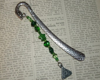 Green Dragon - Glass Beaded Lead Free Metal Bookmark Celtic Knot Charm