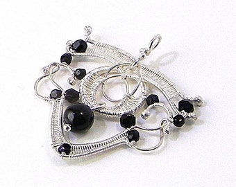 Black Onyx and Sterling Silver Artisan Woven Pendant