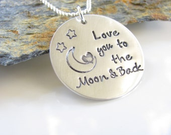 Love You To The  Moon.........Hand Stamped, Sterling Silver and just Adorable.
