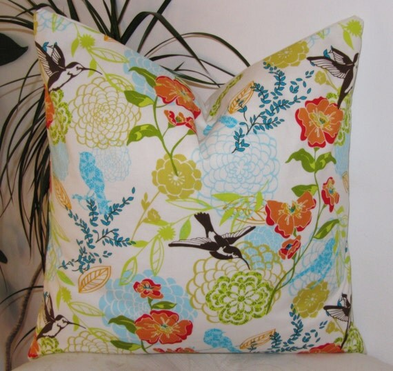 """Decorative Throw Pillow Cover 18"""" - Fresh Fusion -Legacy Studio- Humming Birds and Large Spring Floral- Pillowcase"""