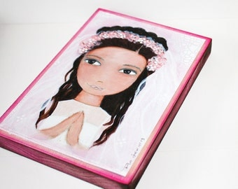 First Communion Girl - Giclee print mounted on Wood (5 x 7 inches) Folk Art  by FLOR LARIOS