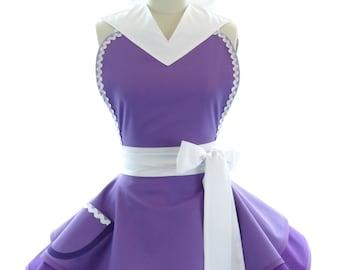 Retro Apron - Galaxy Purple Womans Aprons - Vintage Apron Style - Comics Pin up Orbit City Rockabilly Cosplay Lolita