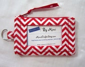 ID Wallet, Student ID Badge Holder, Coin Purse, Handmade From Red and White Chevron Fabric