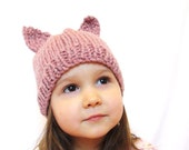 knit hat and photo prop for kids - itty bitty kitty, rose pink, toddler size 18 months - 4T, all natural, soft wool, ready to ship