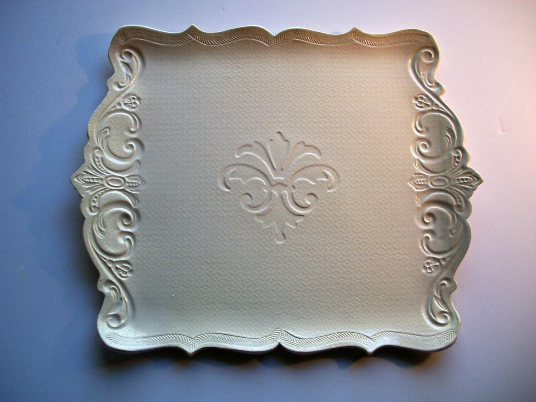 Fleur de lis serving platter with scroll edges by catspawpottery - Fleur de lis serving tray ...
