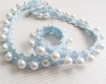 Ice blue crocheted collar pearl necklace