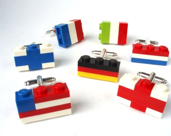 Flags of the World Cufflinks - Wedding Cufflinks, Novelty Cufflinks, Silver Plated Cufflinks - Handmade with LEGO(r) Bricks