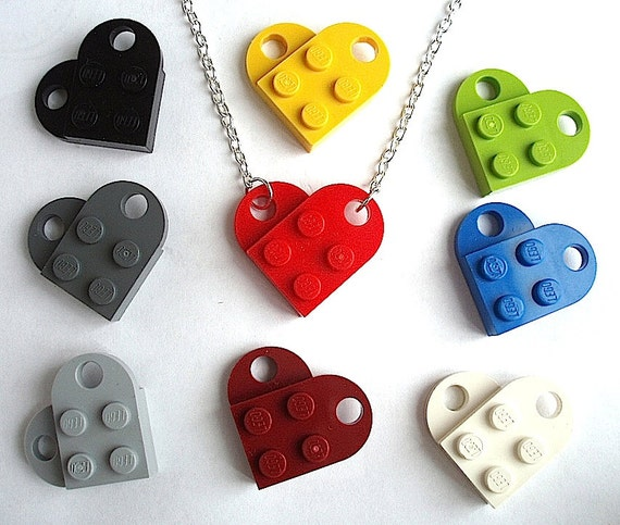 Heart Necklace - Silver or Gold Plated Chain - Handmade with LEGO(r) plates