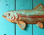 CUSTOM order for Therese - Trophy-sized rainbow trout  - copper sculpture with glass eye - repurposed - OOAK