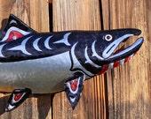 CUSTOM for you - Aluminum Chinook salmon sculpture - Pacific Northwest Coast Indian inspired - repurposed - OOAK