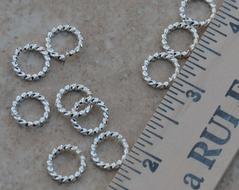 10 Extra Large Twisted Rope Sterling Silver Plated Jump Rings