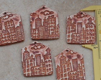 Pottery Pendant Little House in the City at Midday