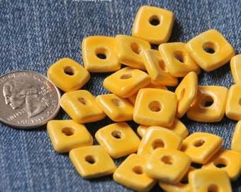 Dandelion Yellow Square Pottery Beads