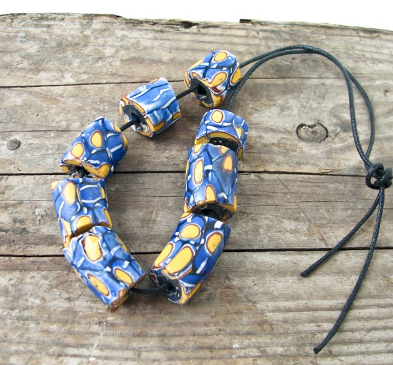 8 African Trade Beads - Shades of Blue - Vintage