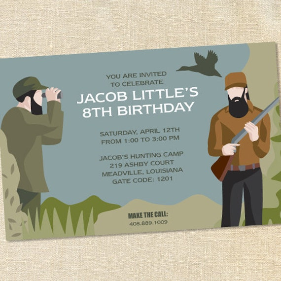 Sweet Wishes Duck Hunting Birthday Party Invitations - PRINTED - Digital File Also Available