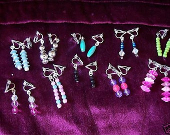 5 pairs of pretty beaded clip-on earrings - ideal for kids