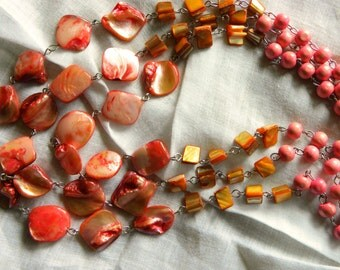 Pink Shell 3 Stand Necklace Vintage Shipping Included