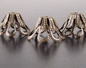 Bronze Bead Cap 50 Cone Antique Bronze 8-Petal Basket Filigree 15mm x 8mm (1093cap15z1)xz