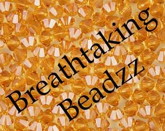 Swarovski Crystal Beads 50 Topaz 4mm Bicone 5328 Many Colors In Stock