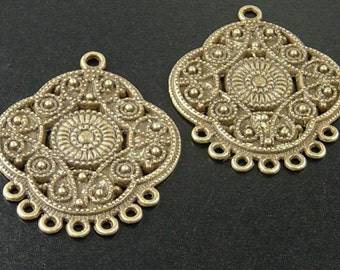 CLEARANCE Earring Chandelier 4 Pendant Charm Antique Bronze 7 Dangle Holes Flat 32mm NF (1038pen32z1)os