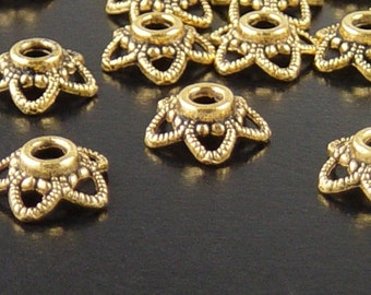 CLEARANCE Bead Cap 50 Antique Gold Flower Filigree Victorian 11mm x 4.5mm 2.5mm hole (1090cap11d1)os