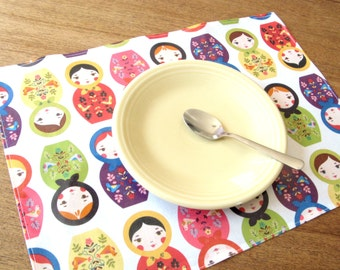 Lightweight vinyl wipeable kid placemat with matryoshka print, PVC placemat