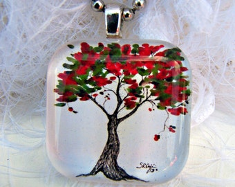 Cranberry and Green Tree, Glass Tile,  Art Pendant and Necklace, 2013