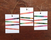 Blank Gift Hang Tag Handmade Paper Colorful Striped Set of 8