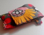 Gray Yellow Red Pink Flower Fabric Chapstick Case Cozy USB Keychain