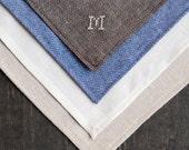 Groomsmen Wedding Set of Handkerchief / Pocket Squares with Custom Cross Stitch Monogram or Date - - MiniatureRhino