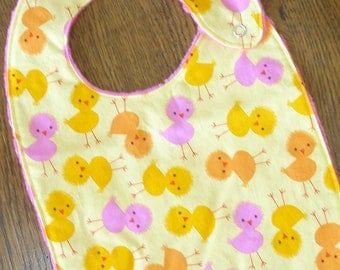 Urban Zoology Pink, Yellow and Orange Chick Minky Baby/Toddler Bib