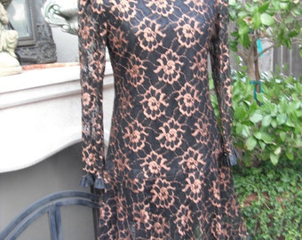 Vintage 1980s Black and Gold Lace Dress / size 10 / Saks Fifth Avenue