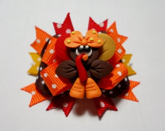 Thanksgiving Boutique Dog Bow- Lil' Gobbler Thanksgiving Boutique Dog Bow