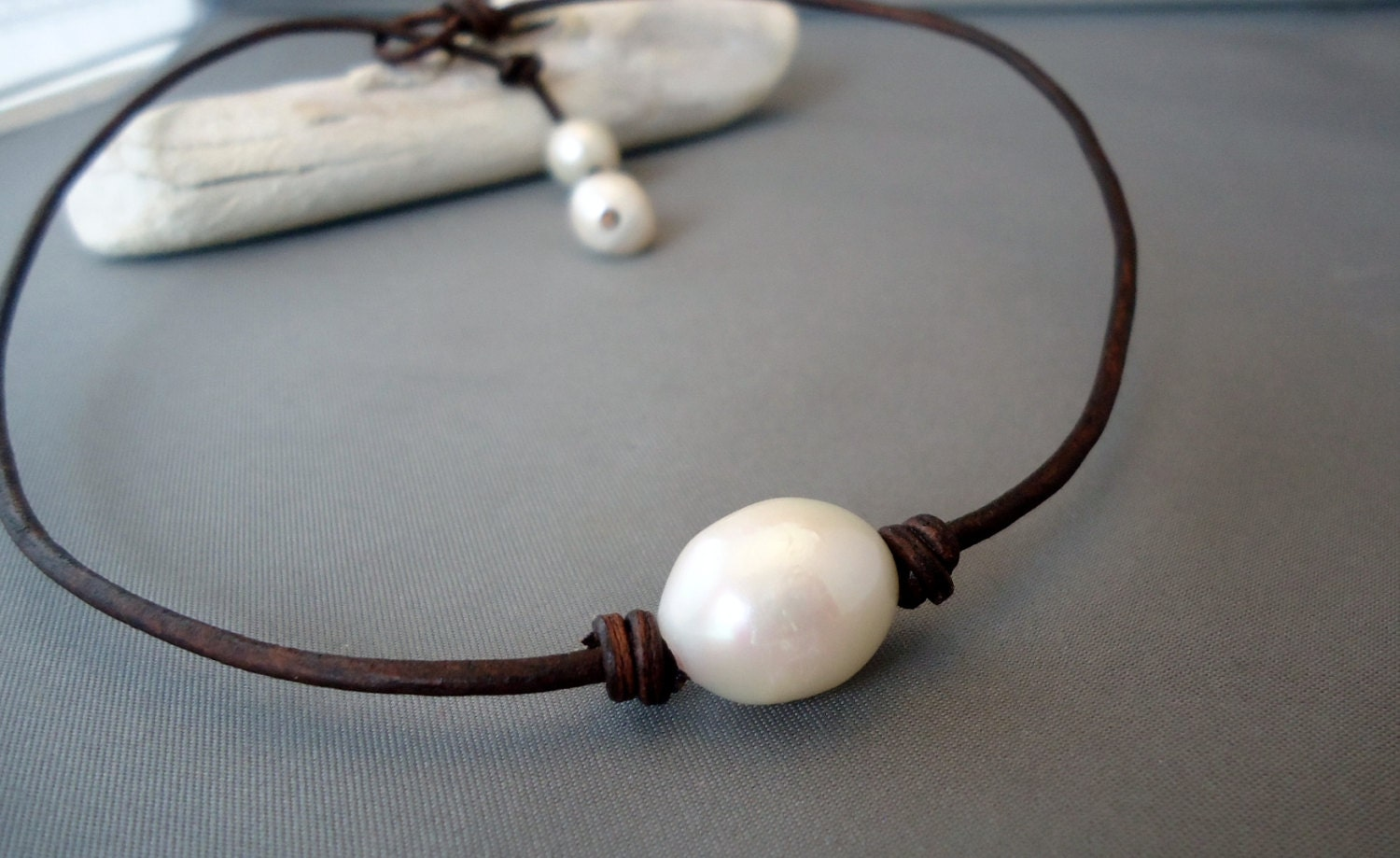 Giant,Baroque,pearl,Leather,knotted,Chic,necklace,Jewelry,leather_pearls,pearl_necklace,leather,freshwater_pearls,iseadesigns,knotted_leather,leather_work,pearl_choker,leather_necklace,leather_lace,seaside,beach_bridal