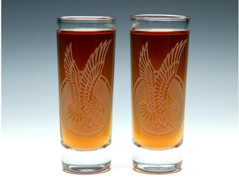 Engraved Eagle Shot Glasses