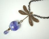 Dragonfly Necklace with Purple handmade focal bead, Brass Chain Necklace
